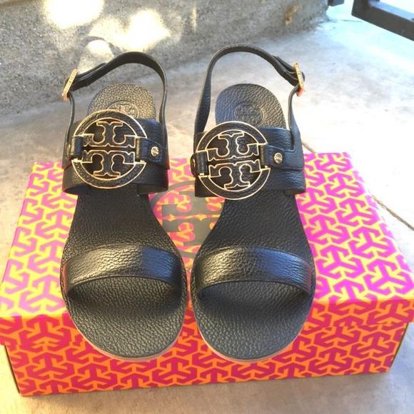 e755f38883 {Tory Burch} Black Amanda Wedge Sandals. Listing Price: $225.00