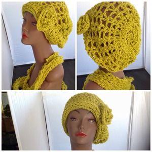 Lime green hat n scarf set