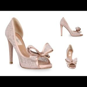 NEW Valentino Couture Lace Satin Bow Pink/Nude