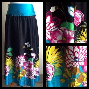 Vintage Silk Floral Skirt