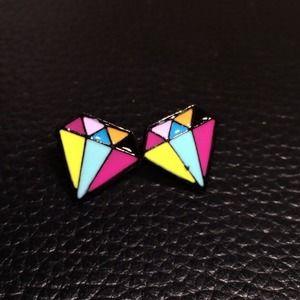 Diamond Shape Stud Earring