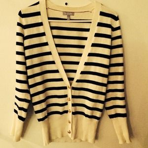 White Navy Blue Striped Sailor Patch Cardigan