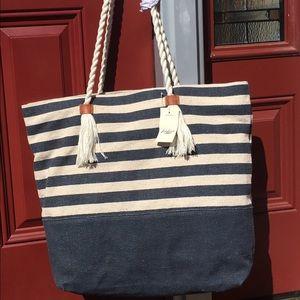 Lucky Brand Handbags - Lucky Brand nautical striped tote bag blue white