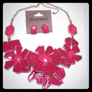Awesome Scarlet Flower Necklace and earrings