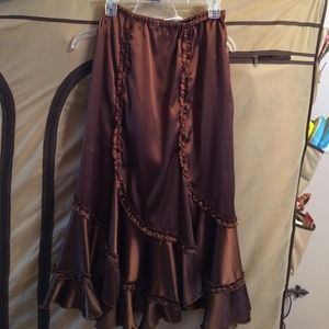 Brown Skirt with ruffle detailing HANDMADE by FIT