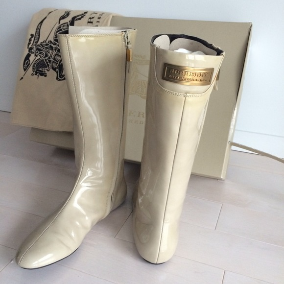 81% off Burberry Boots - Burberry patent leather flat rain boots ...
