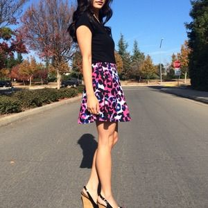 Mixed Colors Animal Print Skirt