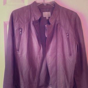 Hinge Taupe leather jacket (w/zip) M