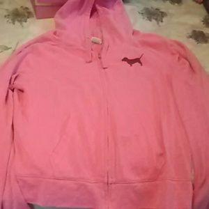 VS pink zip up hoodie gently used