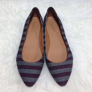 New never worn Madewell stripe skimmers flats