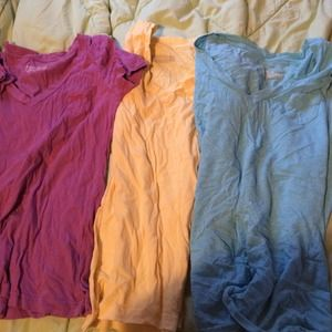 Tops - Purple, yellow and blue v-neck shirts