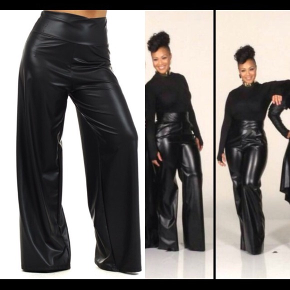 3b607f5e63b Plus size Faux Leather Palazzo pants