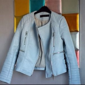 Zara Jackets & Blazers - Zara faux leather pastel blue jacket