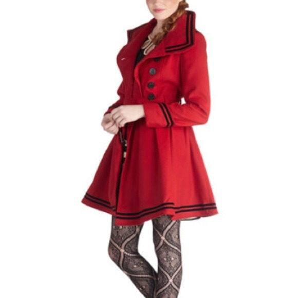 63% off ModCloth Outerwear - Red Princess Coat from Kristen&39s