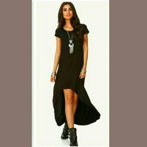 Boho Chic Black Hi Low fitted Dress