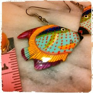 HOST PICK!!Wooden Hand Painted Fish Earrings