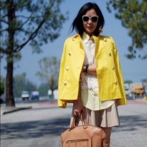 J Crew Yellow Trench Peacoat Sz 0