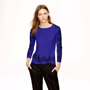 NWT J. Crew Merino Embroidered Lace Sweater