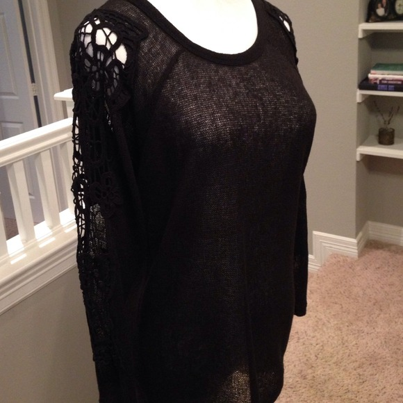 69% off Love Tree Sweaters - Black sweater with lace sleeves from ...