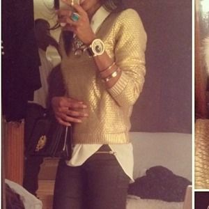 Holiday metallic gold sweater h and m