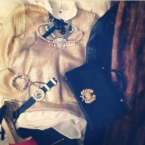 H&M Sweaters - Holiday metallic gold sweater h and m