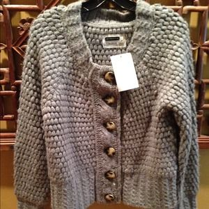 Leifsdottir Heather Grey Handknit Cardigan M NWT