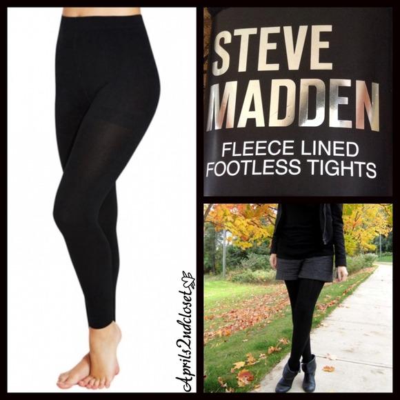 93b90172a8e593 Steve Madden Accessories | Sale Black Leggings Fleece Lined Footless ...