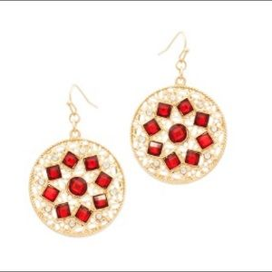 💃🏼👂🏼Gold Tone Red & Bling Disc Earrings