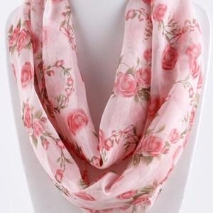 Rosette Infinity Scarf/Pink on pink. Price Firm