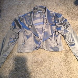 BCBGeneration Silver Silk Cropped Thin Jacket
