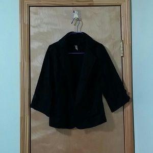 Black Khaki Blazer with Button Front