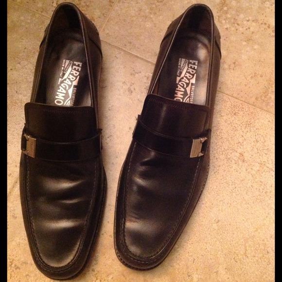 Salvatore Ferragamo Black Leather Horsebit Loafers Men's Size 9.5