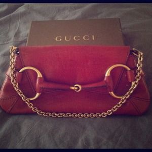 ***REDUCED!*** ❤️Red Leather Gucci Horsebit Clutch