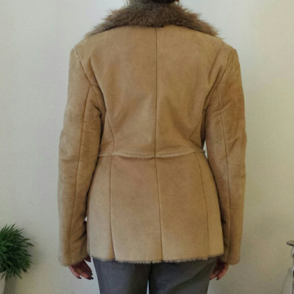 67% off Guess Outerwear - Tan/Beige Suede Shearling Coat Jacket w ...