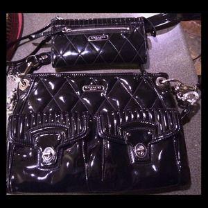 % Auth Coach Set!  Black patent leather 