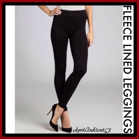 ebdb9978a0b997 Anne Klein Accessories | Black Fleece Lined Leggings Footless Tights ...