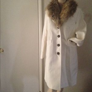 Victoria Secret Trench Coat Wool Faux Fur SZ S