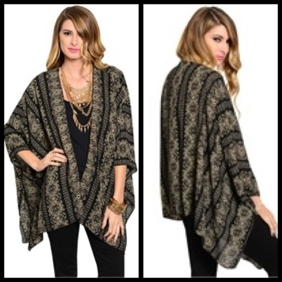Moroccan Pattern Kimono Style Cardigan OS from ...