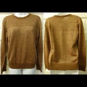 APC Sweaters - APC knit sweater - mustard w/ gold metallic thread