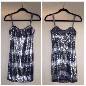 ABS Allen Schwartz Dresses & Skirts - Silver Striped Sequin Strapless Dress
