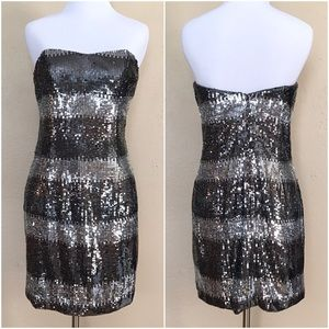 ABS Allen Schwartz Dresses & Skirts - Silver Striped Sequin Strapless Dress
