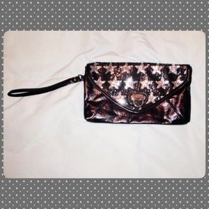 Sequined black/silver star clutch purse 