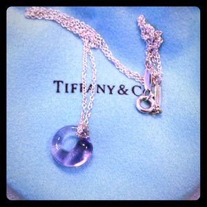 Authentic Tiffany amethyst pendant w silver chain