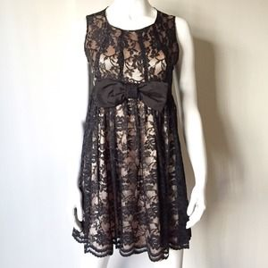 Dresses & Skirts - Black Lace Dress with Bow and Salmon Pink Lining