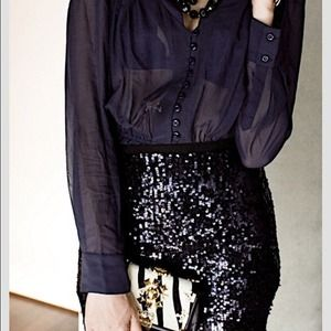 $250 Theory black sequin mini skirt 🎉🍸
