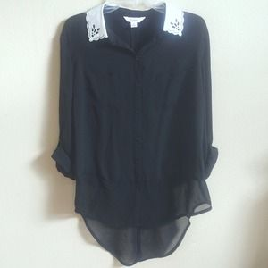 Classic Black Blouse with Lace Trimming
