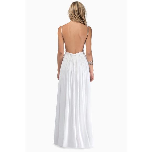 42% off Dresses & Skirts - White Crocheted Eyelet Open Back Maxi ...