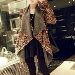 Sweaters - Leopard Print Open Cardigan