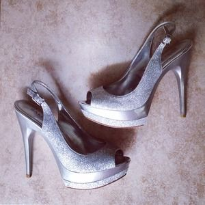 Bakers Shoes - Bakers Silver Glitter Slingback Heels