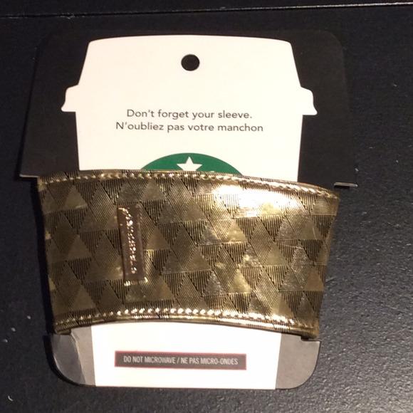 starbucks other holiday reusable cup sleeve gold print poshmark